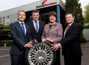 Pictured at Schrader Electronics Ltd's Antrim facility are, left to right: Stephen McClelland, Schrader Electronics Managing Director, Alastair Hamilton, Chief Executive, Invest NI, Enterprise Minister Arlene Foster and Graeme Thompson, Schrader.PIC: WILLIE CHERRY/PRESS EYE