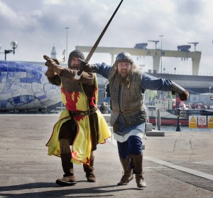 Scottish Warriors take 'Charge' in BelfastTwo burly warriors, who starred in Hollywood blockbusters including Gladiator and Thor 2, stopped traffic in Belfast City Centre today to 'encourage' NI visitors to do battle at Bannockburn Live,