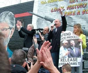 IRA intelligence chief Bobby Storey addresses Sinn Fein rally on Saturday