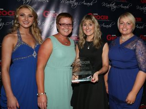 Pictured receiving the award from MRPNI is Centra Marketing Manager Nikki McDowell, Communications Manager Kate Ferguson and SuperValu Marketing Manager Donna Morrison alongside former Miss NI, Meagan Green. John McIlwaine Photography