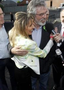Gerry Adams congratulates Martina Anderson after being elected MEP