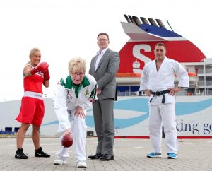 SPORTING GREATS:  Team Northern Ireland athletes Alanna Audley-Murphy, Barbara Cameron and Mark Montgomery are pictured with Neil Palmer of Stena Line as the ferry giant backs Northern Ireland's elite athletes to bring home medals at this year's Commonwealth Games in Glasgow