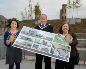 Pictured at the announcement of £7 million worth of European Union funding for the EARLS Project, a major peace and reconciliation initiative in Dungannon, are (Left-Right) Lorraine McCourt, SEUPB Director; Cllr Sean McGuigan, Mayor of Dungannon & South Tyrone Borough Council; and Bernadette McAliskey Co-ordinator of STEP community organisation.