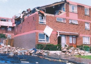 The bombed IRA flat in August 1988.