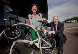 Transport Minister Danny Kennedy is pictured with cyclist Claire Mulvenna. Picture by Brian Morrison.