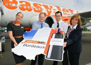 Cabin Crew member Christine Adair launching the new easyJet routes to Bordeaux and Jersey from Belfast International Airport. She is pictured with Uel Hoey, Business Development Director at Belfast International Airport alongside First Officer Richard Packman and Ali Gayward, , easyJet's Head of Northern Ireland