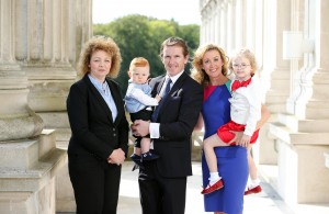 Pictured are Minister Carál Ní Chuilín AP McCoy,  wife Chanelle McCoy, daughter Eve McCoy and son Archie McCoy.