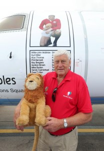 Willie-John McBride at the new Flybe aircraft