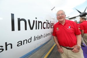 Syd Millar with the new Flybe plane 'The Invincibles'.