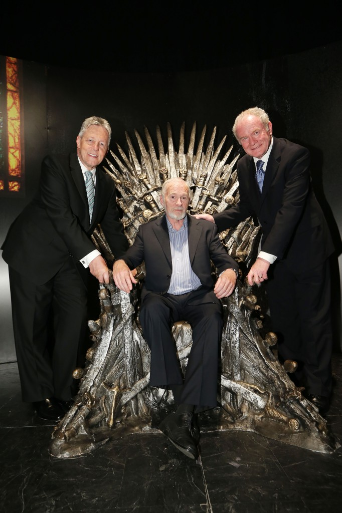 First Minister, Peter Robinson and deputy First Minister Martin McGuinness pictured with Game of Thrones cast member Ian McElhinney at the official launch of the Game of Thrones Exhibition at the Waterfront Hall Belfast. PIC:KELVIN BOYES/PRESSEYE