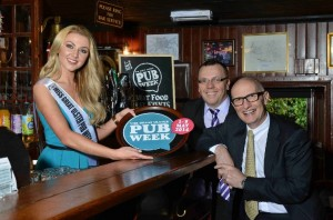 Pictured L-R: Miss Northern Ireland, Meagan Green, Mark Stewart, Pubs of Ulster chairman and Colin Neill CEO, Pubs of Ulster.