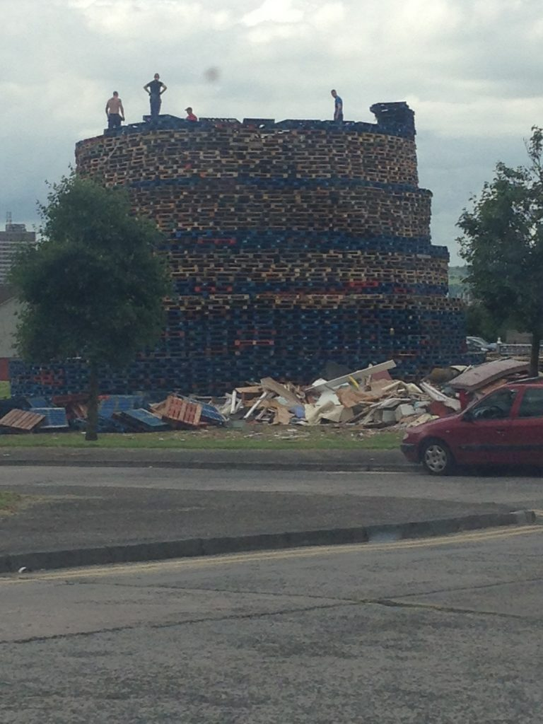 The bonfire under construction on the lower Shankill estate