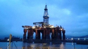 The Blackdolphin oil rig lit up at night in Belfast