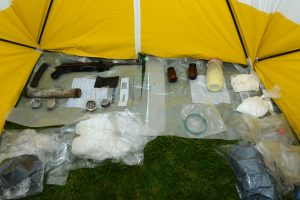 The explosives and firearm found in a bag owned by Niall Lehd