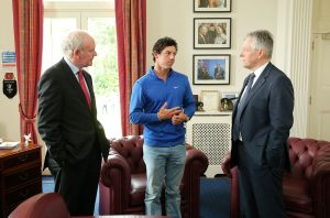 2014 Open Champion Rory McIlroy with First Minister Peter Robinson and the deputy First Minister Martin McGuinness on his visit to Stormont Castle. Picture by Kelvin Boyes / Press Eye.