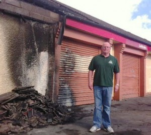 Councillor Kevin Campbell at scene of arson attack
