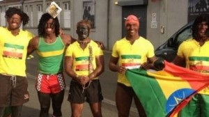 Ulster rugby players in Ehtopian Olympic fancy dress