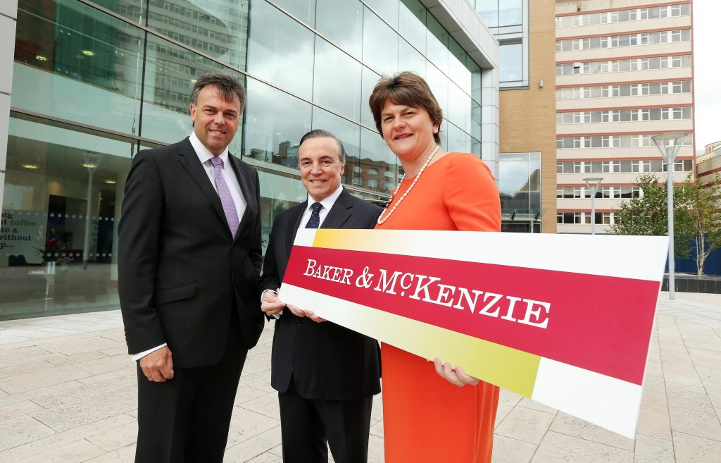 Pictured, left to right, Alastair Hamilton, Chief Executive, Invest NI; Eduardo Leite, Chairman, Baker & McKenzie and Enterprise Minister, Arlene Foster. PIC: KELVIN BOYES/PRESSEYE