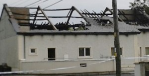 The gutted Orange Hall in Newtownncunningham.PIc by Denis Hutton