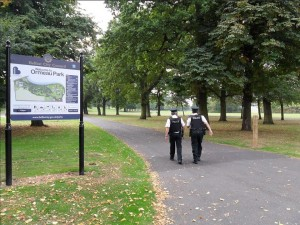 Police officers on patrol in Ormeau Park