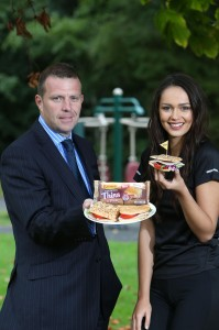Colin Todd, Business Development Manager of Brennans Bread and model Rebekah Shirley help to launch the new Brennans Sandwich Thins range.