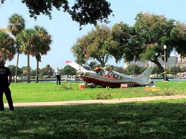 The crashed Piper Cherokee single engine aircraft that came down in Florida