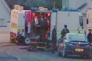 Police and ATO at the scene in Ballyarnett village on Monday night