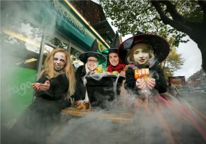 Kicking off the Halloween madness at Centra is zombie Emily McDowell (7), Centra Brand Manager Nikki McDowell, Action CancerÕs Stacey Graham and witch Jessie McDowell (4). PIC: KELVIN BOYES/PRESSEYE