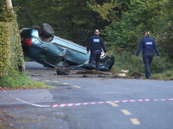 Gardai at the scene of the fatal crash in Ballybofey, Co Donegal this morning. PIC: NORTHWEST NEWS PIX