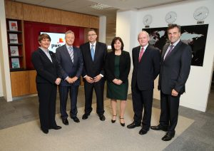 Peter Robinson and Martin McGuinness are pictured with Enterprise, Trade and Investment Minister Arlene Foster, Paul Terrington, PwC Regional Chairman, Stephanie Hyde, PwC Head of Regions and Chief Executive of Invest NI, Alastair Hamilton.