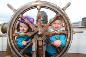 Daire Gault (3) and Meabh McGurn (3) from Oliver Plunkett Primary School were at the official launch of the Northern Ireland Hospice 'Wall of Hope' campaign at a special event aboard the SS Nomadic