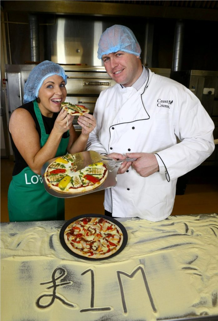 Taste of success: Julie Cherry of Musgrave Retail Partners and Mark McCaffrey of Crust & Crumb announce that ten new jobs have been created at Crust & CrumbÕs Enniskillen factory. PIC: BY WILLIE CHERRIE/PRESSEYE