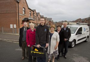 Pictured are (L-R) Marcus Patton, Hearth Housing Association; Beverly Surgenor, Abbeyfield & Wesley; Shane McCaffrey, JMC; Clare McCarty, Clanmil Housing Group; Karen Massey, Connswater Homes; and James McCully, JMC.