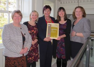 Pictured (l to r) picking up the Heritage award are Geraldine McGovern, Marble Arch Caves Global Geopark, Dr Kirstin Lemon, Geological Survey NI, Minister Ann Phelan TD, Úna Collier and Elish Gray, Border Uplands Project / Marble Arch Caves Global Geopark.