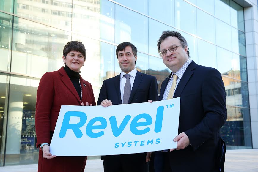Ministers Arlene Foster and Dr Stephen Farry pictured at the Invest Northern Ireland Head Quarters with Chief Technology Officer and Co-founder of Revel Systems Chris Ciabarra. PIC: KELVIN BOYES/PRESSEYE