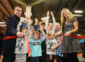 JUMP AROUND…Joint business owners Gareth and Lorna Murphy cut the ribbon to mark the opening of We Are Vertigo's new trampoline park which at 40,000 square feet is the largest in Europe.