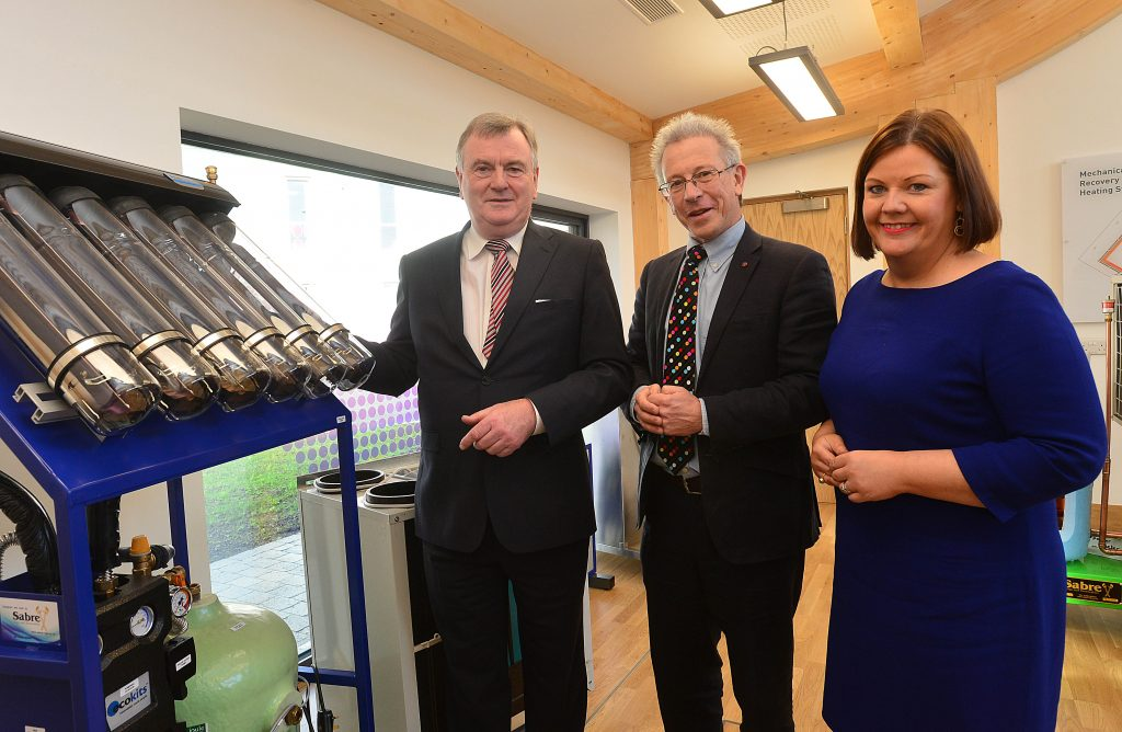 Pictured at the official opening of the Centre for Renewable Energy and Sustainable Technologies (CREST), Ireland's largest green technology research and development and training facility in Enniskillen are Malachy McAleer, Director, South West College; Chris Hines MBE, former Sustainability Director at the Eden Project Cornwall and Jill Cush, Innovation Centre Manager.PIC: By: Arthur Allison/Pacemaker Press.