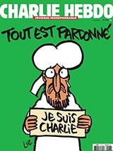 Charlie Hebdo depicting a  tearful prophet Mohammed saying: All is forgiven