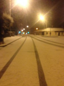 The Ormeau Road this morning after snow flurry