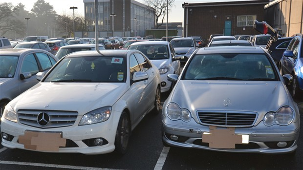 Some of the Mercedes cars seized at cocaine factory