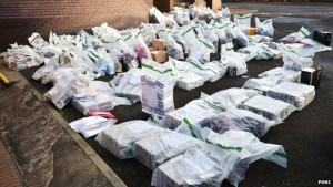 The haul of DVDs seized by police during planned raids in Lisburn. PIC: PSNI
