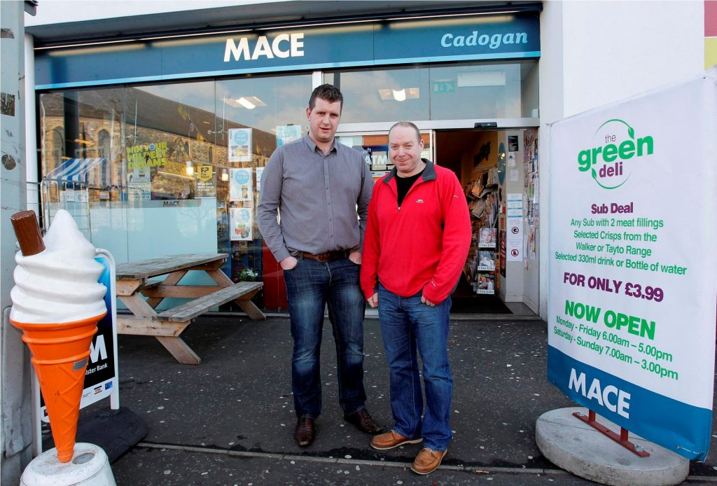 Johnston's Mace Belfast Cadogan is competing for Mace Store of the Year, sponsored by Tayto, in Musgrave Retail Partners prestigious 'Store of the Year Awards' on March 6 at the Slieve Donard Hotel, Newcastle. Pictured is  owners Andy Davis and Graham Johnston.