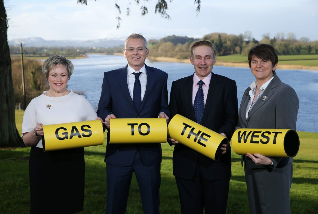 Pictured at the launch are Jenny Pyper, Chief Executive of the Utility Regulator; John Morea, SGN Chief Executive; Paddy Larkin, Chief Executive, Mutual Energy and Enterprise, Trade and Investment Minister Arlene Foster. PIC By Kelvin Boyes/PRESSEYE