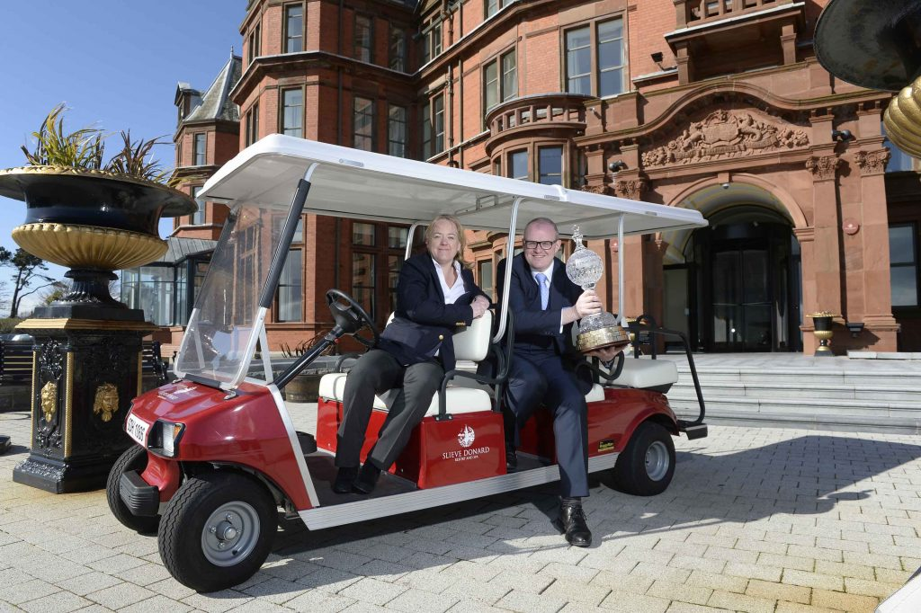 OPEN FOR BUSINESS: The European Tour's Antonia Beggs and Stephen Meldrum, General Manager of the Slieve Donard Resort & Spa, Newcastle celebrate the announcement that the hotel has been named as the Official Host Hotel for the 2015 Dubai Duty Free Irish Open hosted by The Rory Foundation.