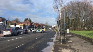 The scene of the bomb alert earlier today on the Shore Road in north Belfast