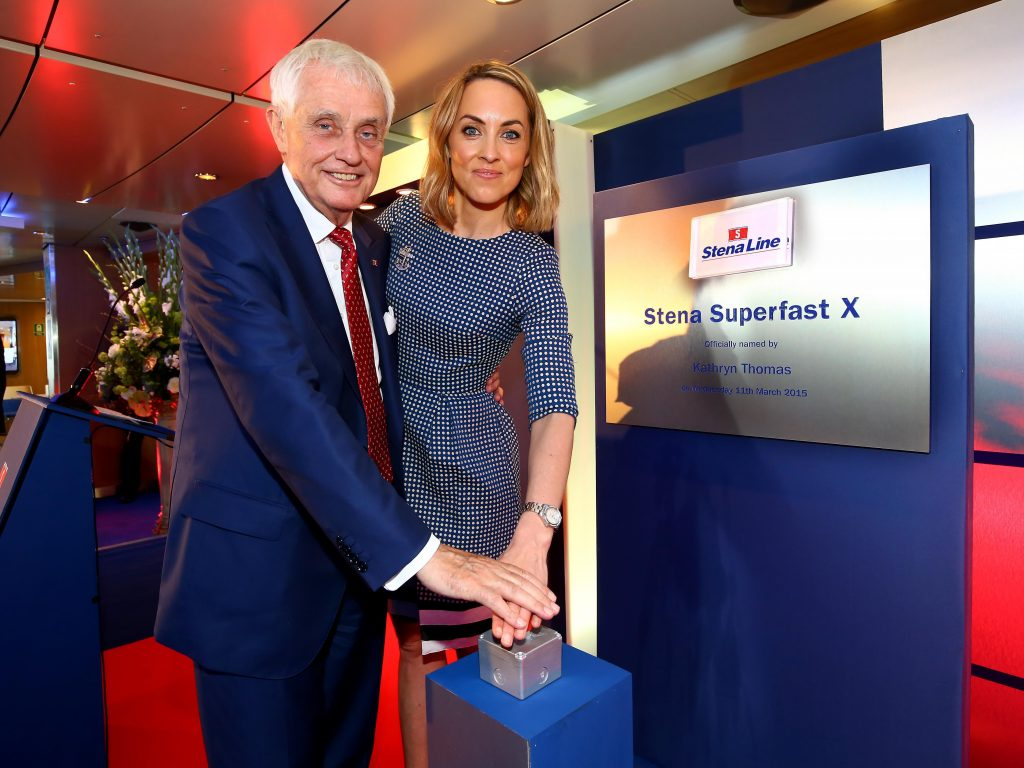 FERRY GODMOTHER...Dan Sten Olsson, Chairman of Stena Line was joined by Irish broadcast personality and Ferry Godmother Kathryn Thomas to officially launch the Stena Superfast X at Dublin Port today. PIC: WILLIE CHERRY/PRESSEYE
