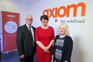 Etnerprise Minister Arlene Foster with John Mallon and Kate Docherty of Axiom. PIC: PRESSEYE