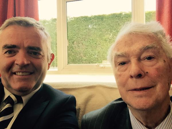 The picture posted on the DUP's Twitter feed of Jonathan Bell MLA and Rev Martin Smyth