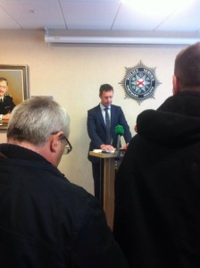 DCI John McVea talks to the press today at police headquarters in east Belfast about the murder of Kyle Neil
