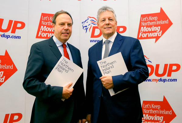 DUP leader Peter Robinson and his deputy Nigel Dodds launching its 2015 party manifesto